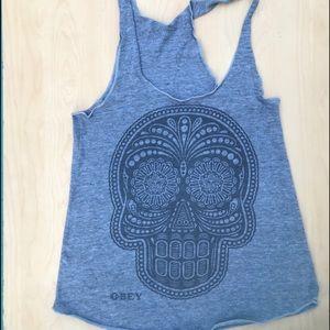 OBEY women's sugar skull tank top XS